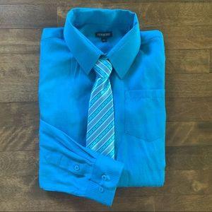 Newberry Boy's Blue Button-Down Dress Shirt & Tie